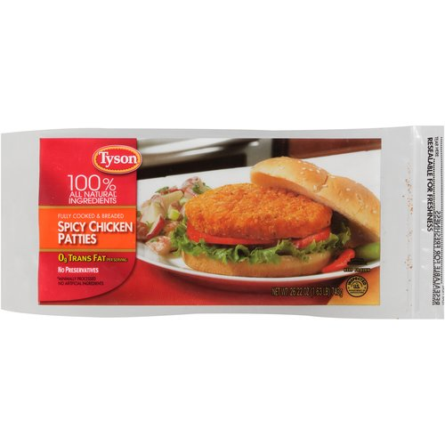 Tyson Spicy Chicken Breast Patties, 32 oz