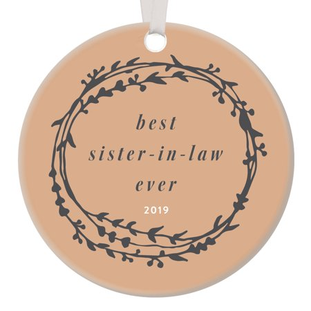 """Sister-In-Law Gift 2019 Christmas Ornament Woman Heartfelt Best Friend Bridal Shower Present Family Keepsake Brother's Wife Rustic Vine Wreath Earthy 3"""" Ceramic Tree Decoration Digibuddha (Best Vines Of October 2019)"""