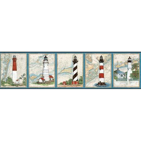 Wallquest Inc. TH23751B Nautical Harbour Lighthouse Beach Border Wallpaper, Blue ()