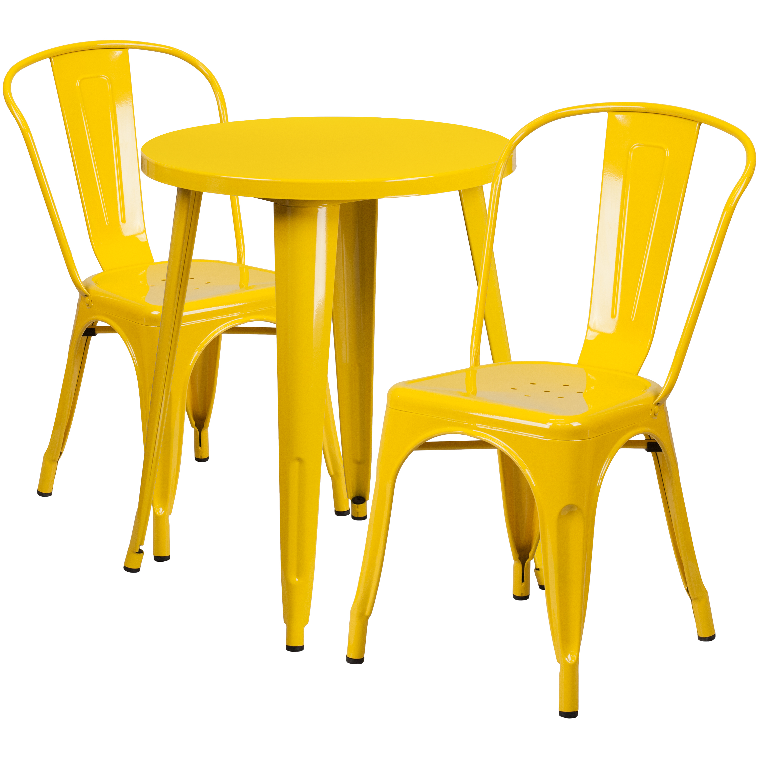 Flash Furniture 24'' Round Metal Indoor-Outdoor Table Set with 2 Cafe Chairs, Multiple Colors