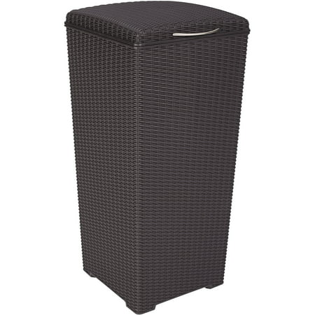 Keter Pacific 30-Gallon Resin Plastic Wicker Outdoor Waste Bin with (16 Gallon Waste Receptacle)