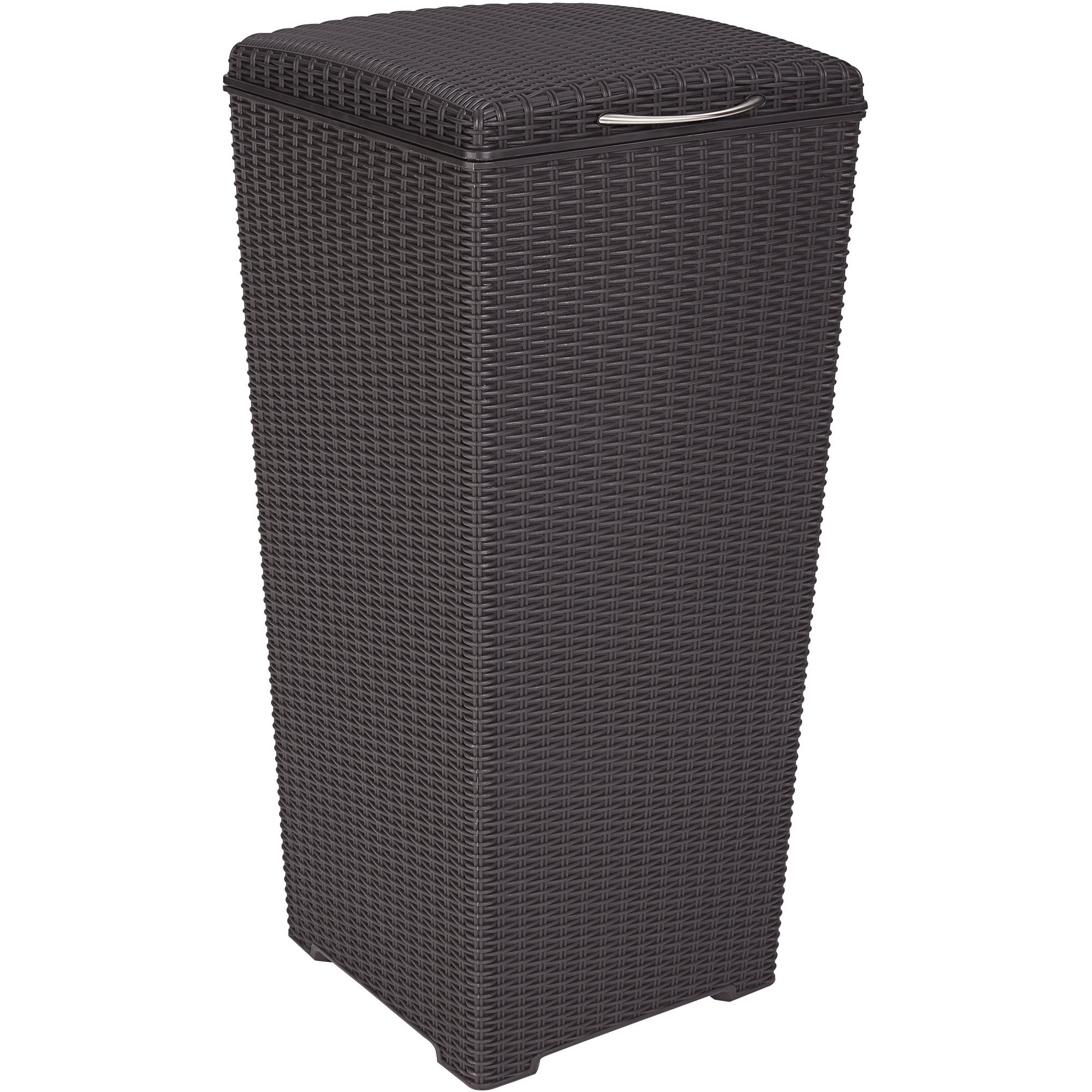 Keter Pacific 30-Gallon Resin Plastic Wicker Outdoor Waste Bin with Liner