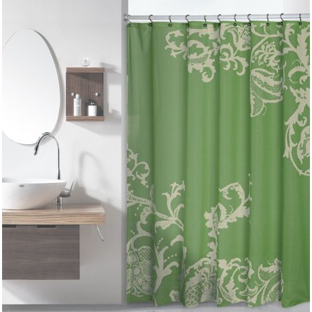 Sage Green Luxury Fabric Shower Curtain With Beige Floral Pattern