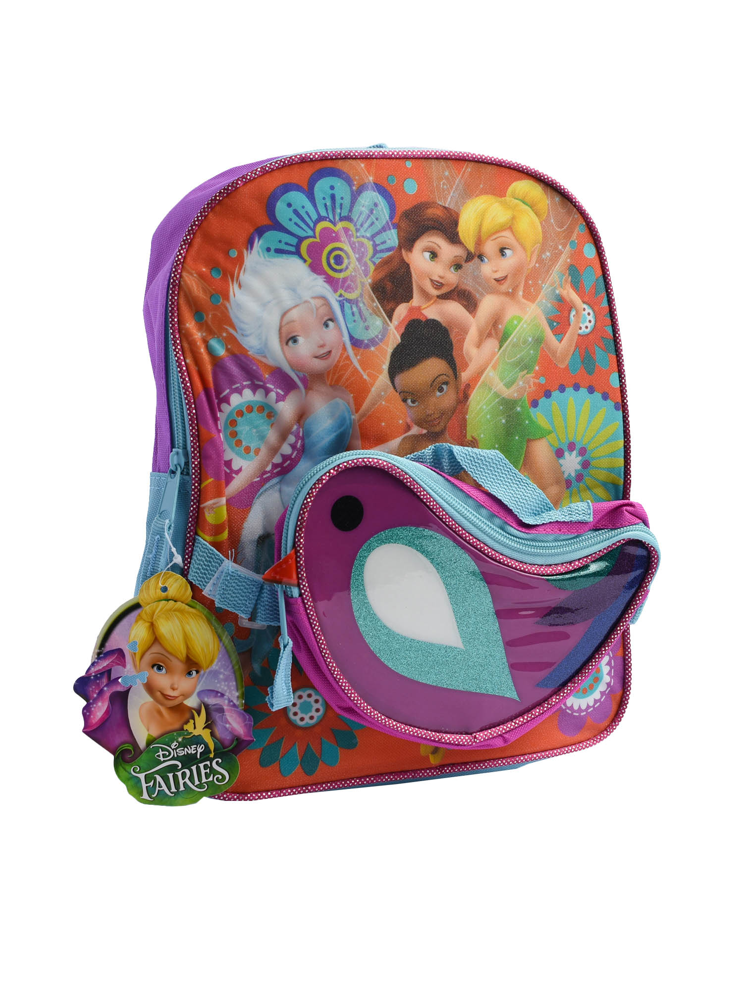 "Girls Tinkerbell Fairies 12"" Backpack Detachable Snack Bag Rosetta Iridessa"