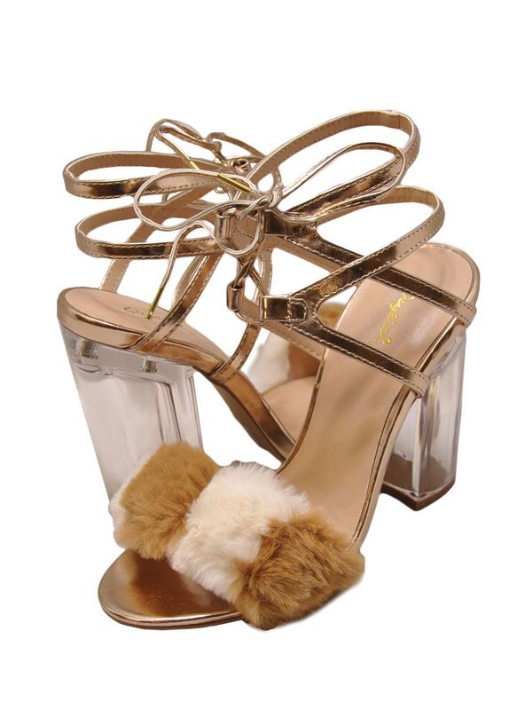 Qupid Kloude 11 Women's Lace Up Faux Fur Chunky Heel