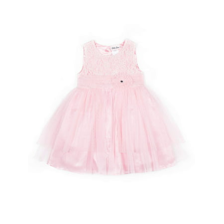- Sleeveless Pink Party Tiered Tulle Dress (Little Girls)