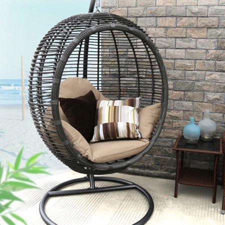 Baner Garden Outdoor Egg Shaped Swing Chair Black