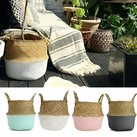 Wedlies Foldable Woven Rattan Straw Basket Flower Pot Hanging Wicker Storage Basket Garden Indoor (Flower Pots Spinner)