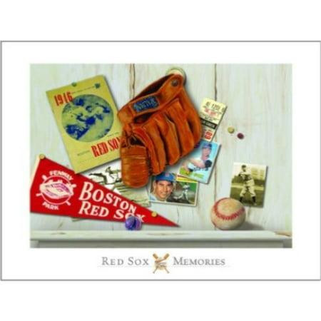 Vintage Red Soxby Robert Downs 16x20 Art Print Poster Glove Baseball Cards Flag