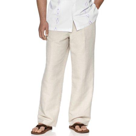 Tasso Elba Island Big Tall Drawstring Linen Pants Natural Khaki 44