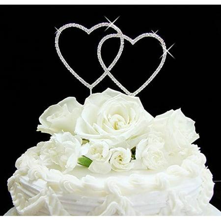 Yacanna Swirl Silver Double Heart Crystal Monogram Cake Toppers - Heart Cake Topper