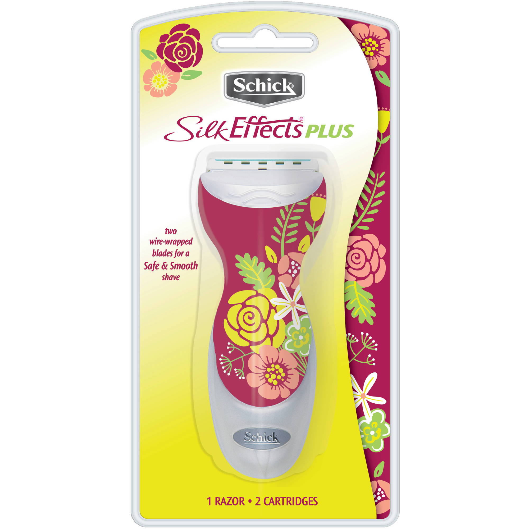 Schick Silk Effects Plus Women's Razor - 1 Razor Handle Plus 2 Refill Razor Blades