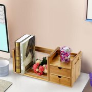 Desktop BookshelfTabletop BookcaseFosa Bamboo Wood Extendable Desk Tabletop Book Rack Bookshelves Bookcase