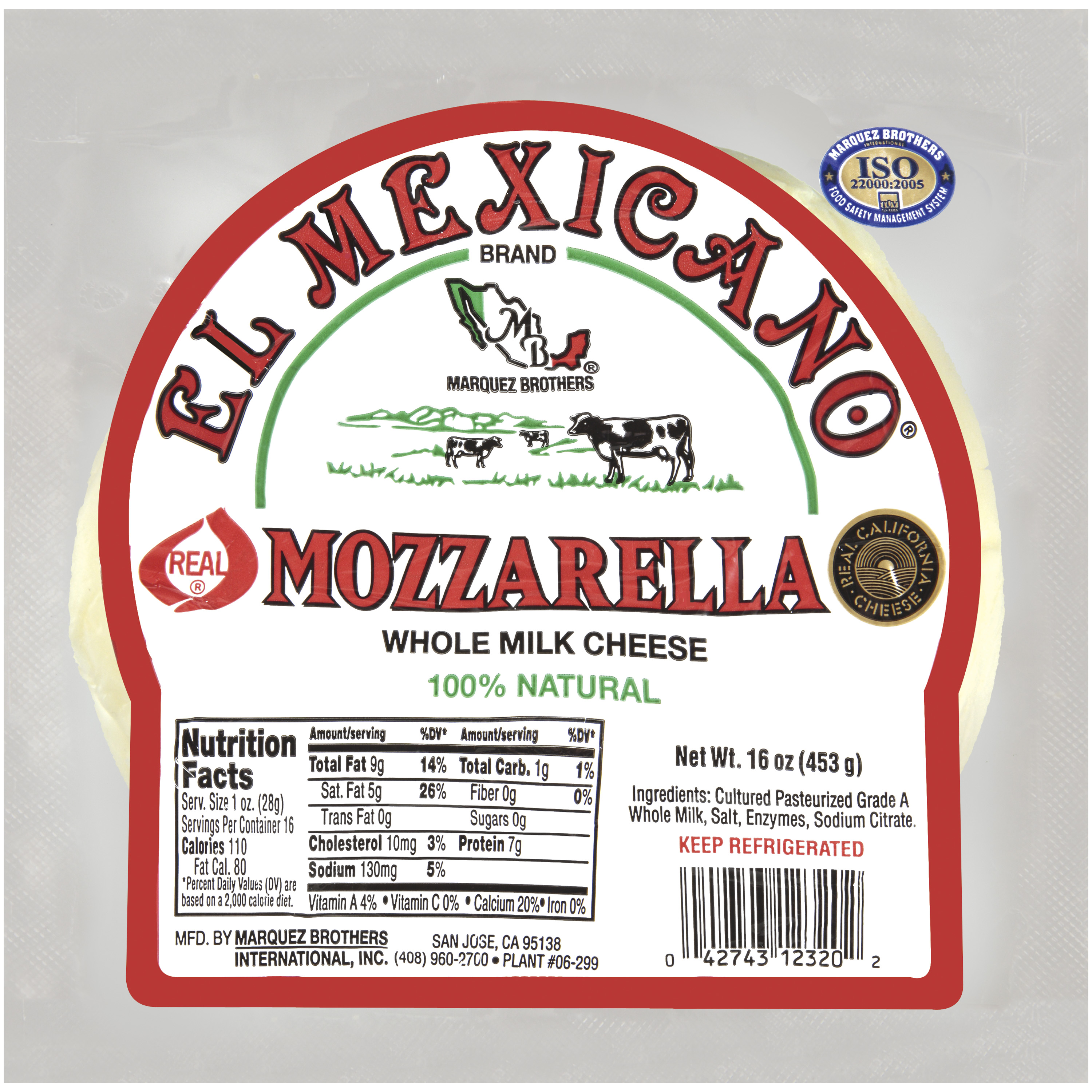 El Mexicano Mozzarella Cheese, 16 oz