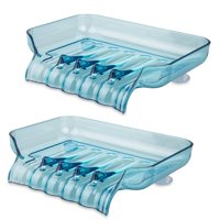2-pack Bathroom Kitchen Shower Soap Box Dish Storage Plate Tray Holder Containe Suction (Blue)