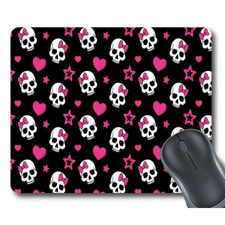 GCKG Pink Bowknot Love Skull Mouse Pad Personalized Unique Rectangle Gaming Mousepad 9.84