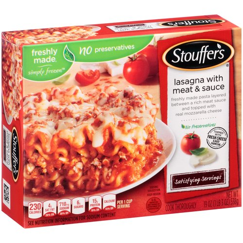 STOUFFER'S Satisfying Servings Lasagna with Meat & Sauce 19 oz. Box