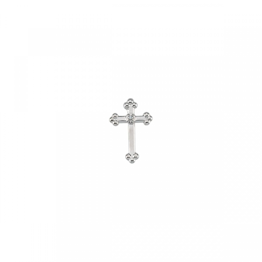 Diamond Cross Lapel Pin R16743   14Kt White   14.00X09.00 Mm   Polished   Cross Lapel Pin W Diamond by Midwest Jewellery