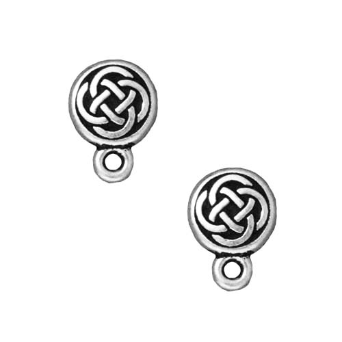 Silver Plated Pewter Stud Post Earrings Celtic Circle 11mm (1 Pair)
