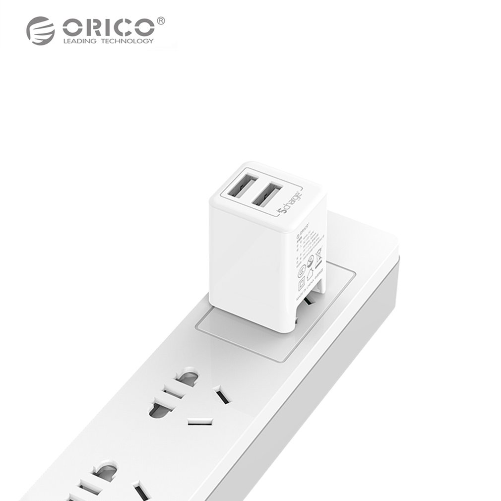 Orico Wha 2u Usb Charger Portable Travel 2 Ports Smart Circuit Breaker Charging Adapter With Foldable Plug For Tablet Phone