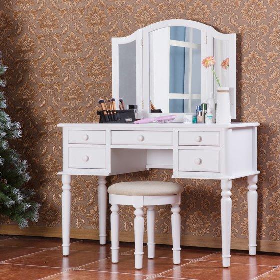 Merax Vanity Set w/ Stool Make-up Dressing Table Bedroom Dressing ...