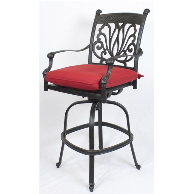 Comfort Care CC01A-JR Cast Aluminum Designer Outdoor Barstool with Sunbrella Jockey Red Cushion - 50.4 x 25.6 x 26.6 in. - Set of 2
