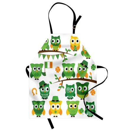 St. Patrick's Day Apron Irish Owls with Leprechaun Hats on Trees Shamrock Leaves Horseshoe, Unisex Kitchen Bib Apron with Adjustable Neck for Cooking Baking Gardening, Green and White, by (Cooking And Baking)