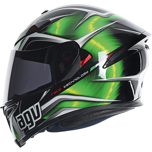 AGV K-5 Hurricane Motorcycle Street Helmet Green/Black