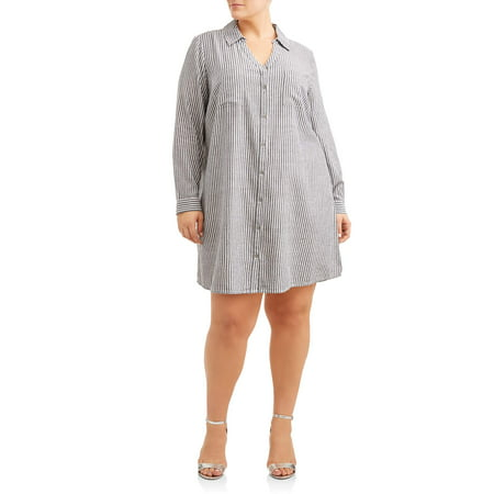 Women's Plus Size Button Down Shirt Dress