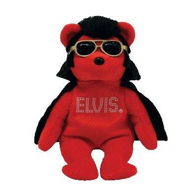 ty beanie baby - shake rattle & beanie the elvis bear (wa...