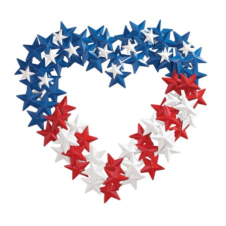 Patriotic American Flag-themed Star Metal Wreath, Multi - Patriotic Wreaths