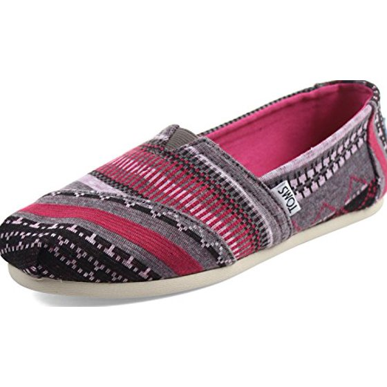 ba9229caf2dc7 TOMS Women's Classics Fuchsia Tribal Jersey Loafer
