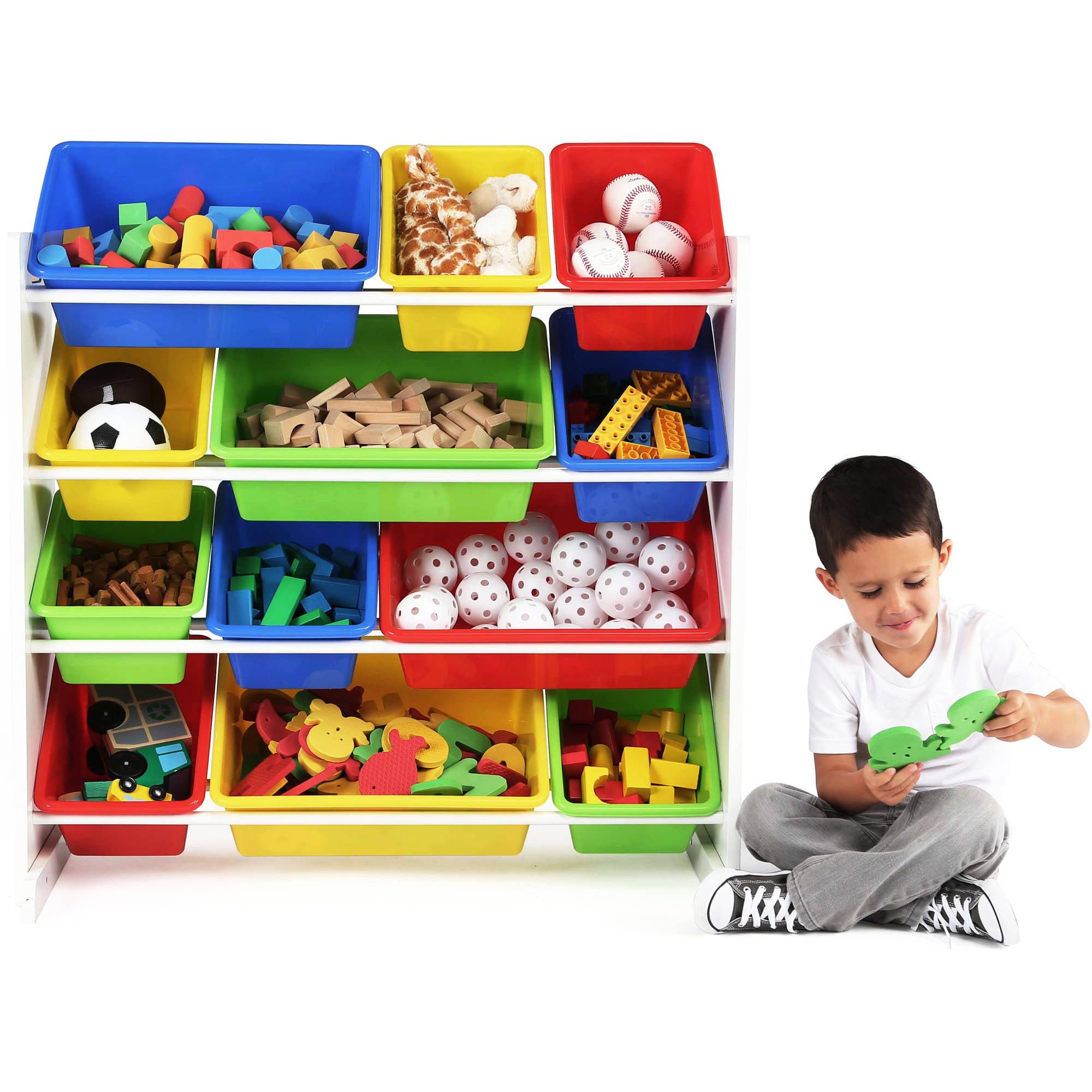 Tot Tutors Kids Toy Storage Organizer With 12 Plastic Bins Multiple