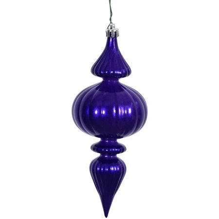 """Vickerman 7"""" Cobalt Candy Finial Ornaments with UV-Resistant Finish and Pre-Drilled Cap, Set of 6"""