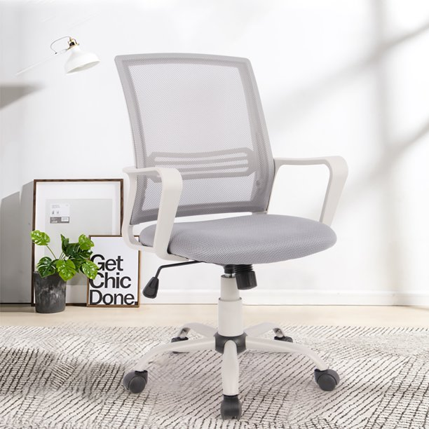 YangMing Office Chair, Mesh Desk Chair Computer Swivel Chair with Lumbar Support Armrest High Back , Grey