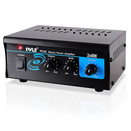 PYLE PCA2 - Stereo Power Amplifier, Compact Audio Amp with RCA & Speaker Terminals (2 x 40 Watt) Audio Stereo Amplifier Amp