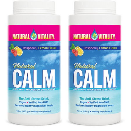 - (2 Pack) Natural Vitality Calm Magnesium Powder, Raspberry-Lemon, 16oz