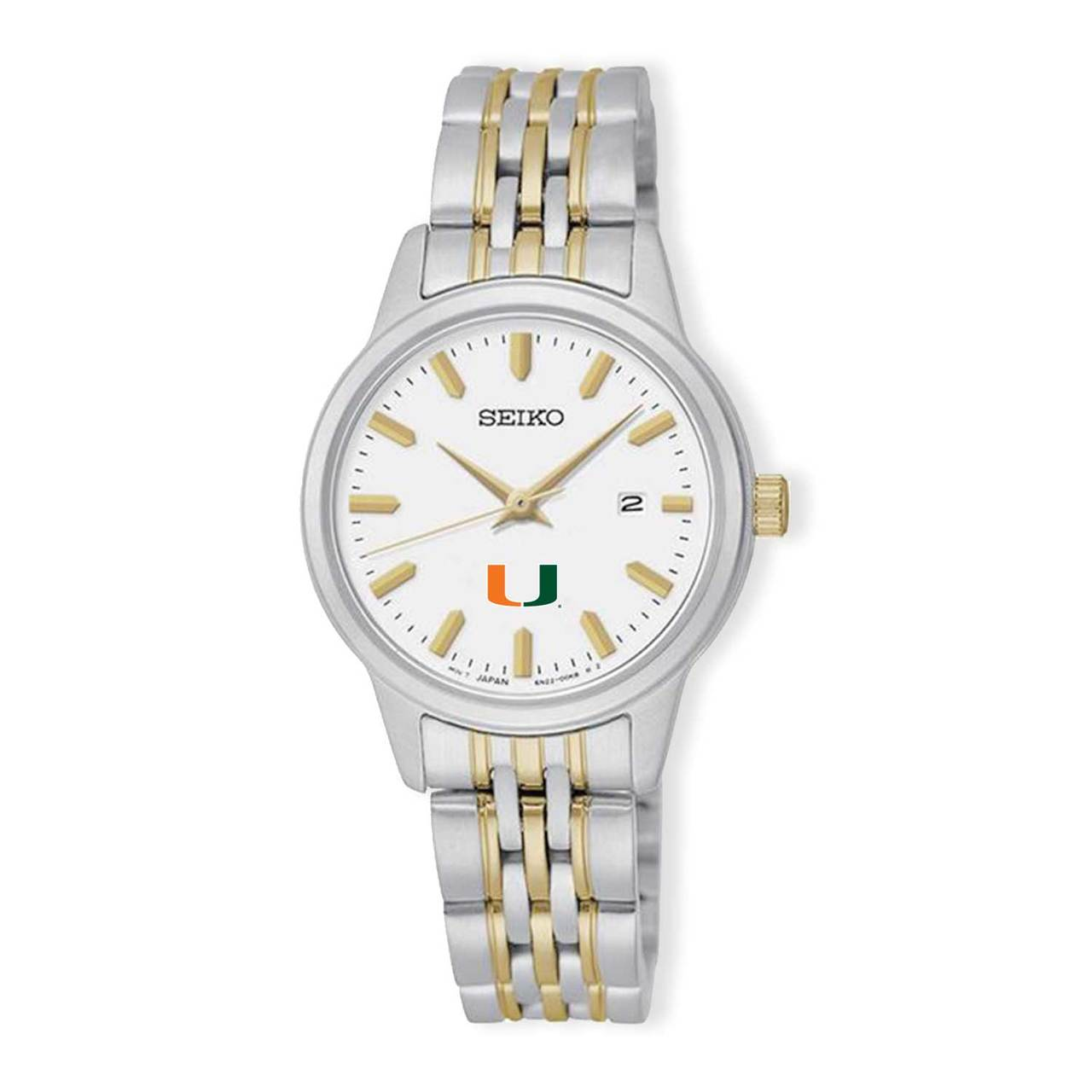 Miami Hurricanes Seiko Women's Prime Analog Quartz Two-Tone Stainless Steel Bracelet Watch
