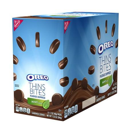 Oreo Thins Bites Fudge Dipped Mint Creme, 13.6 Oz (Gourmet Dipped Cookies)