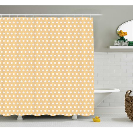 Vintage Shower Curtain Old Fashioned Pattern With Shabby White Polka Dots Classic Retro Design Print
