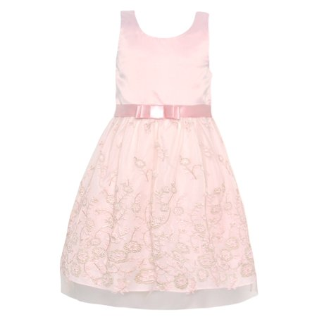Rare Editions Little Girls Blush Embroidered Sleeveless Easter Dress ()