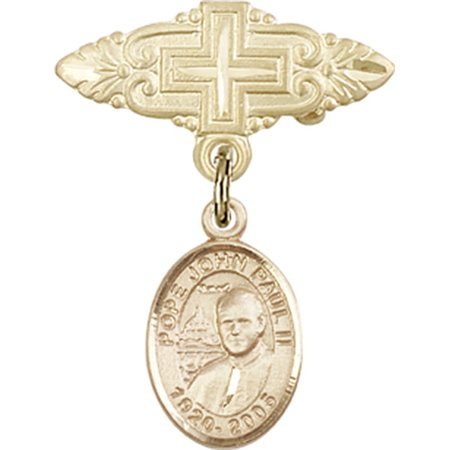 14kt Yellow Gold Baby Badge with St. John Paul II Charm and Badge Pin with Cross 1 X 3/4 inches