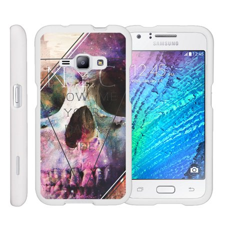 3 Piece Hardshell - Miniturtle® [Samsung Galaxy J1 J120 Case (2016), Samsung Amp 2 Case, Samsung Express 3 Case][Snap Shell] 2 Piece White Design Case, Perfect Fit Hard Rubberized Cover - Your Dark Side