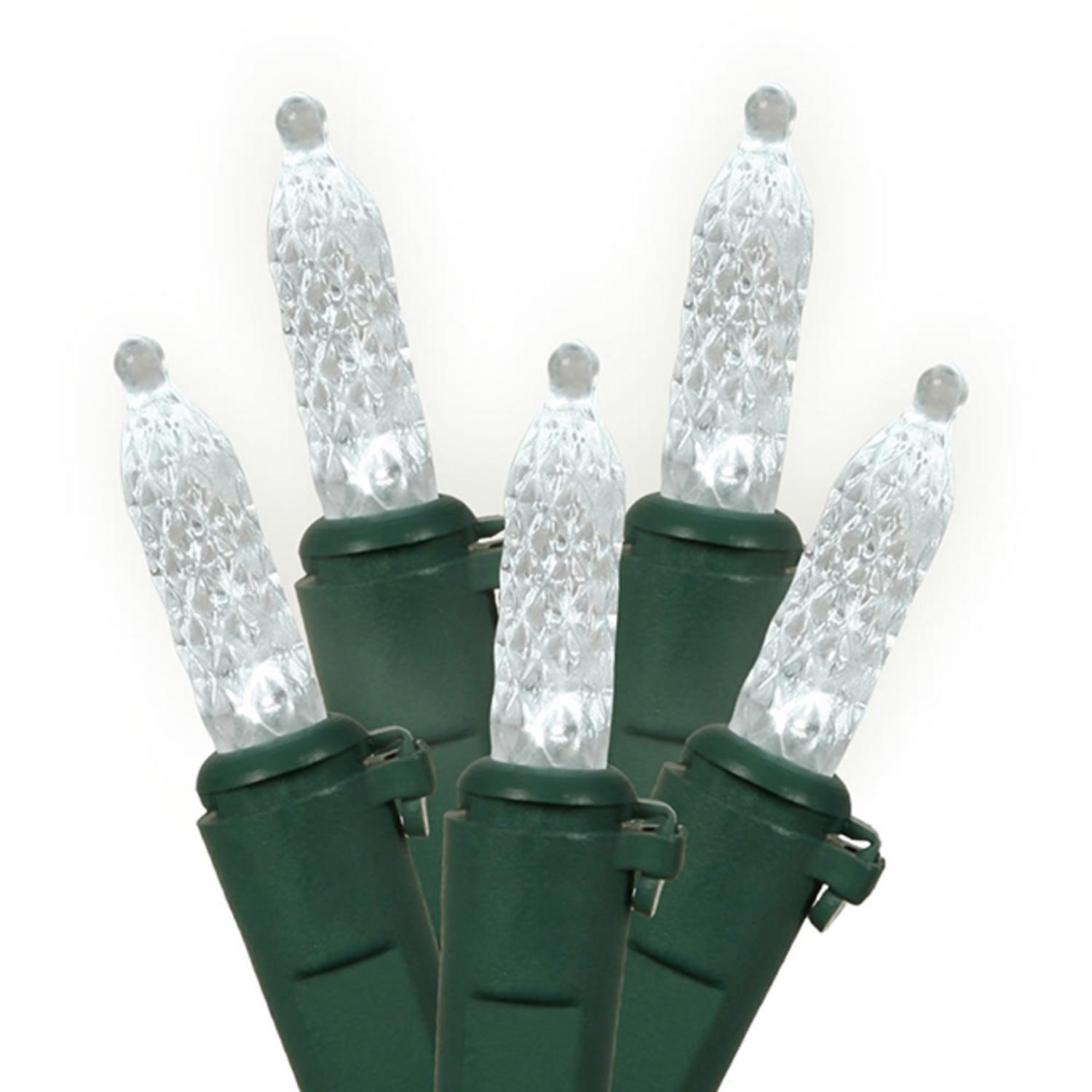 Set of 70 LED Pure White M5 Mini Christmas Lights - Green Wire