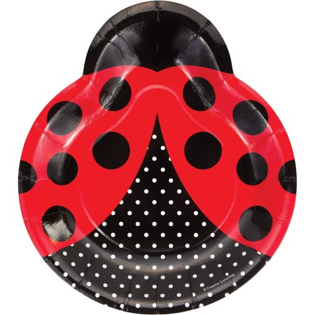 Fancy Paper Plates (9 inch Dinner Plates Ladybug Shaped Ladybug Fancy,Pack of 8)