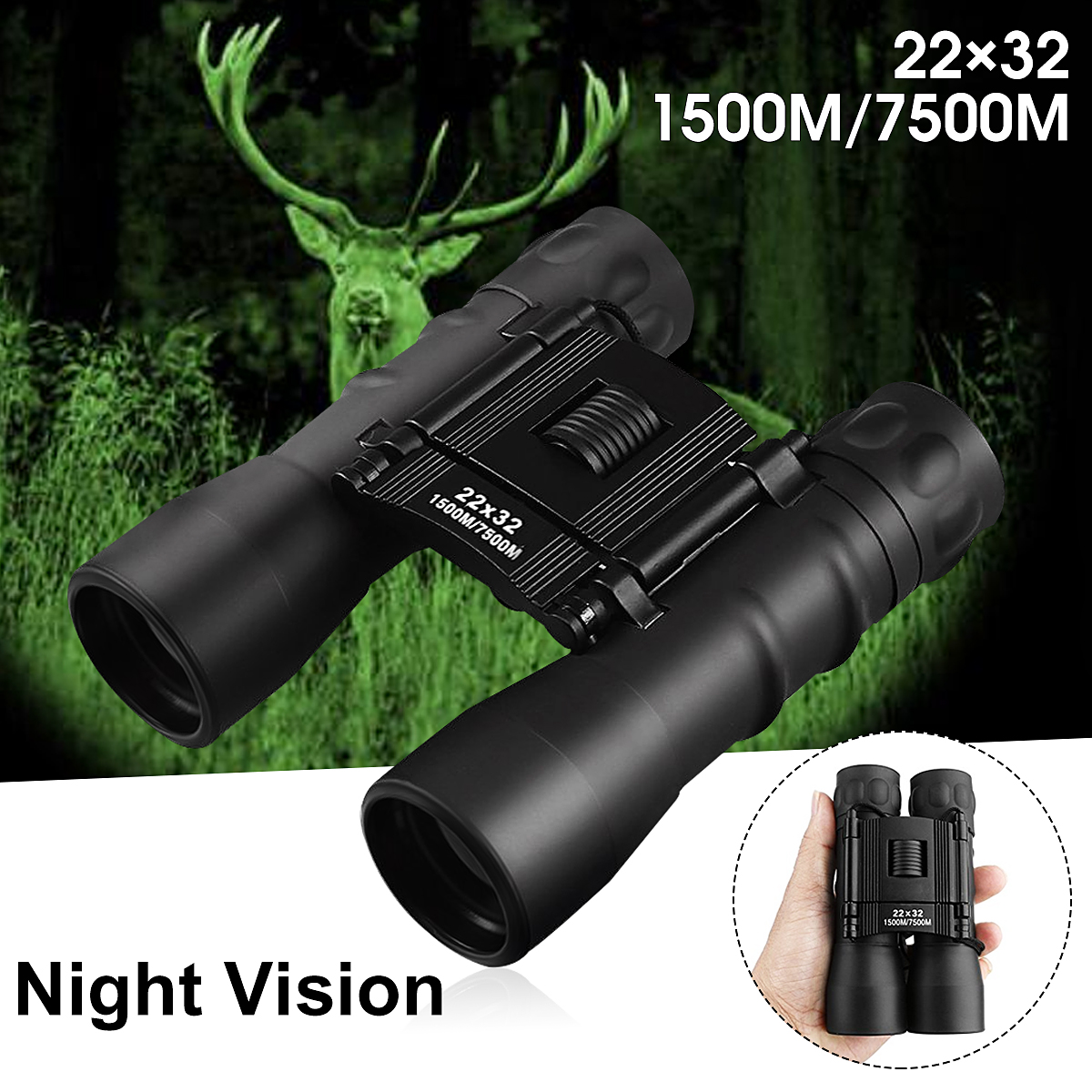 ARCHEER Night Vision Binoculars Telescope Portable 22x32 Magnification 7500M Zoomable Folding Binoculars Telescope for Day and Night Bird Watching Hunting Travelling Sightseeing