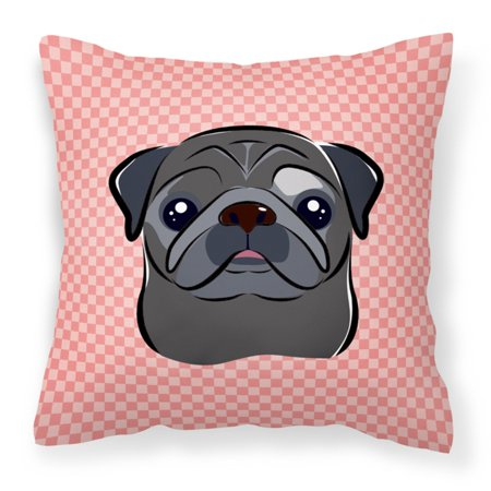 Carolines Treasures Checkerboard Pink Black Pug Square Decorative Outdoor Pillow
