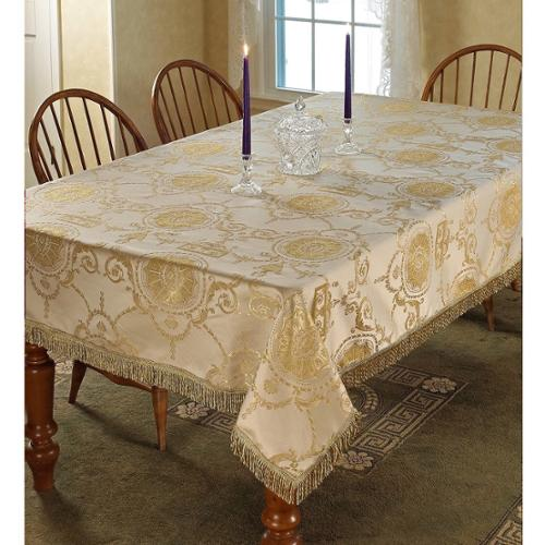 Prestige Damask Design Tablecloth Beige (52 x 70)