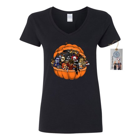 Pumpkin Halloween Scary Characters Womens V Neck T-Shirt Top (Scary Halloween Pumpkin Eyes)