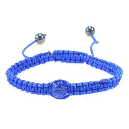 Blue Crystal Rhinestone Ball Macrame style adjustable Bracelet Inspired By Shamballa- 10mm - -